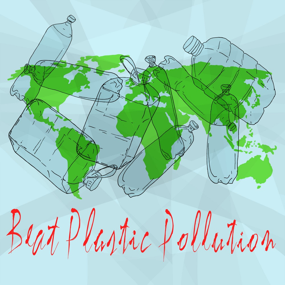 World Environment Day vector illustration. Beat Plastic Pollution.